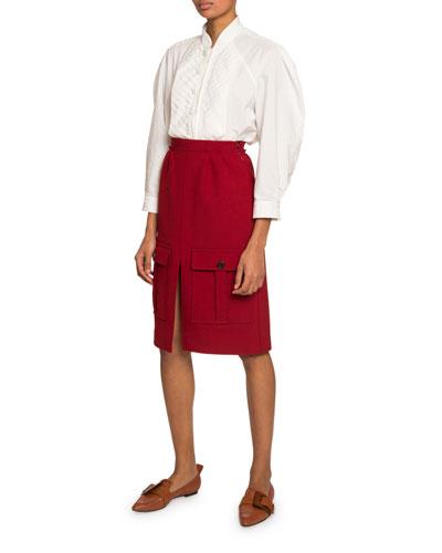 Chevron-Bib Poplin Shirt and Matching Items