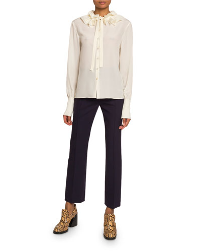 Ruffled Crepe de Chine High-Neck Top and Matching Items