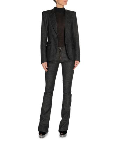 Leather-Trim Denim Blazer and Matching Items