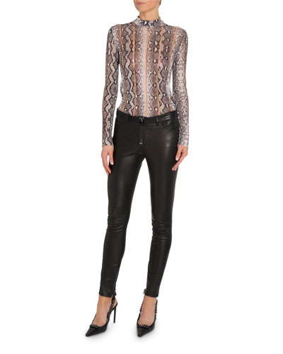 Snake-Print Mock-Neck Top and Matching Items