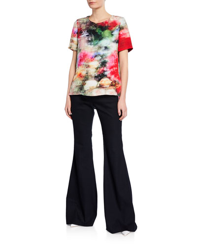 Textured High-Rise Flare Pants