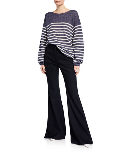 Brushed-Cashmere Breton-Striped Boat-Neck Sweater and Matching Items