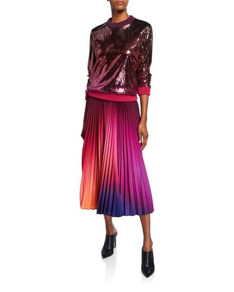 Dip-Dyed Pleated Midi Skirt