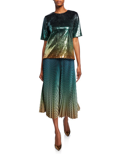 Ombre Sequined Crewneck Tee and Matching Items