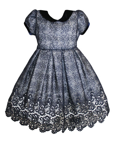 Floral Mesh Lace Velvet-Trim Dress  Size 12-24 Months  and Matching Items