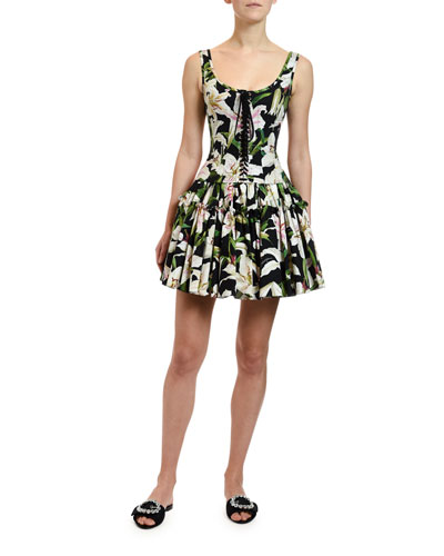 2d64da9ca Lily-Print Poplin Tiered Short Skirt and Matching Items Quick Look. Dolce &  Gabbana