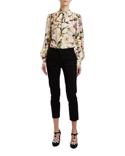 0fdfb4ec603 Long-Sleeve Floral-Print Crepe de Chine Blouse and Matching Items Quick  Look Promotion. Dolce   Gabbana