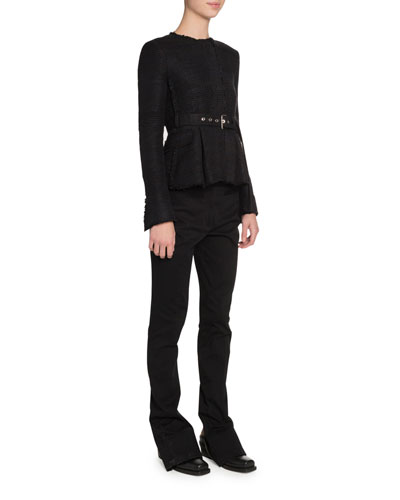 Long-Sleeve Crewneck Belted Jacket and Matching Items