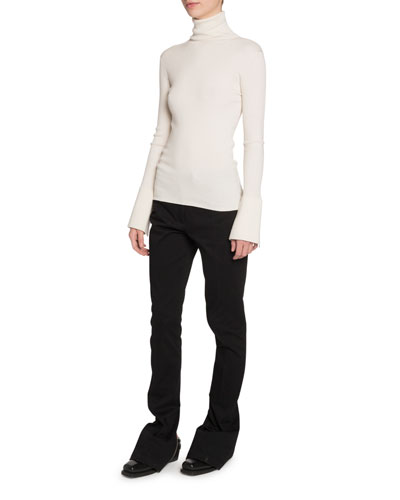 Silk-Cashmere Flare-Sleeve Turtleneck Sweater and Matching Items