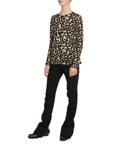 Speckle-Print Long-Sleeve Crewneck T-Shirt and Matching Items