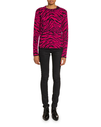 Crewneck Zebra Print Fuzzy-Wool Sweater and Matching Items