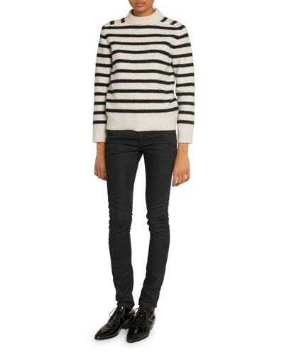 Striped Mock-Neck Sweater and Matching Items