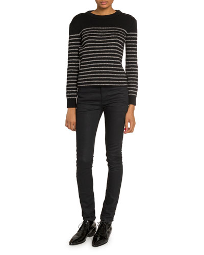 Shimmer-Striped Crewneck Sweater and Matching Items