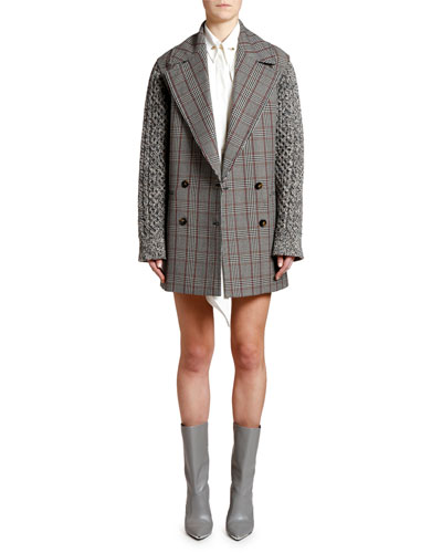 Plaid Knit-Sleeve Oversized Pea Coat and Matching Items