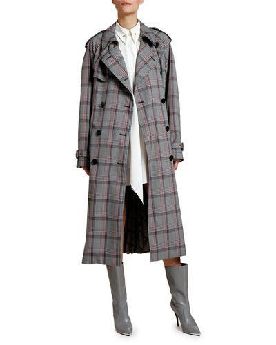 Check Pleated-Back Trench Coat and Matching Items