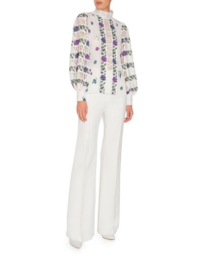 Long-Sleeve Printed Silk Blouse with Lace Insets and Matching Items