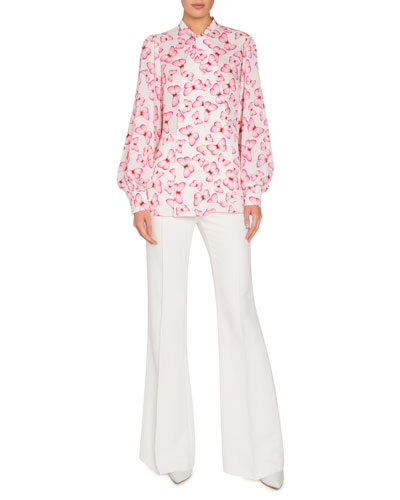 Butterfly-Print Tie-Neck Blouson-Sleeve Silk Blouse  and Matching Items