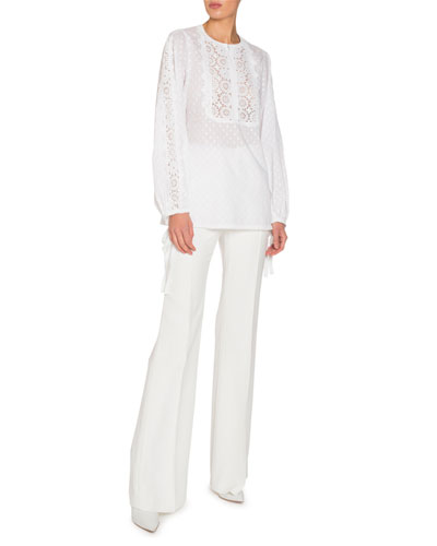 Dotted Long-Sleeve Blouse with Eyelet Lace and Matching Items