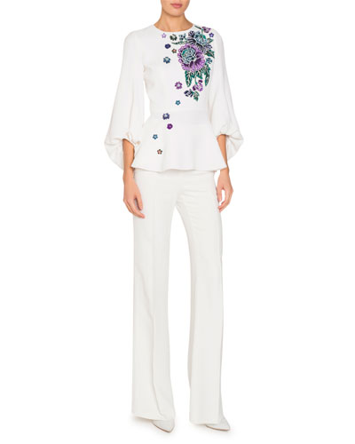 Blouson-Sleeve Peplum Blouse with Floral Embroidery and Matching Items
