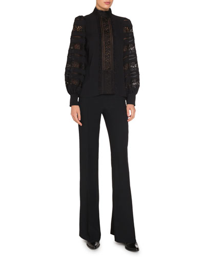 Long-Sleeve Silk Blouse with Lace Insets and Matching Items