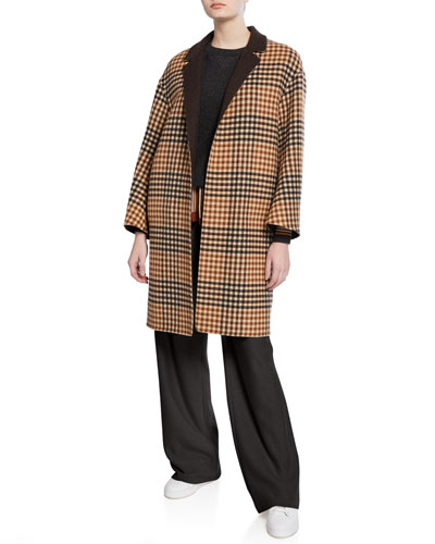 Melvin Cashmere Checked Leather-Belted Coat and Matching Items