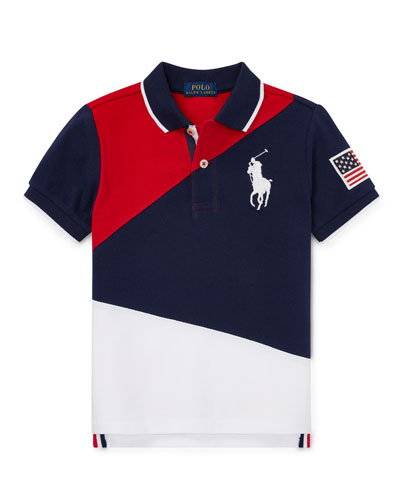 Diagonal Colorblock Polo Shirt  Size 2-4  and Matching Items
