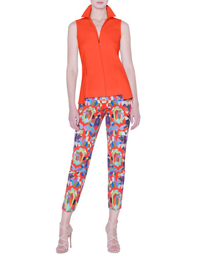 Sleeveless Zip-Front Peplum Shirt and Matching Items