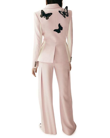 Padlock-Button Two-Tone Silk Blazer