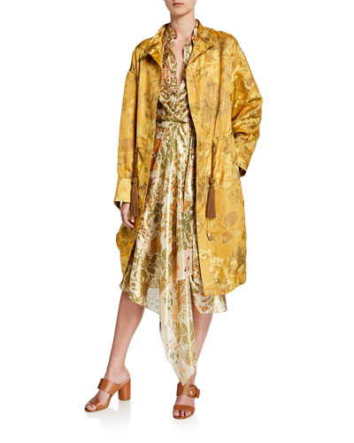 Brocade Tie-Waist Anorak Coat and Matching Items