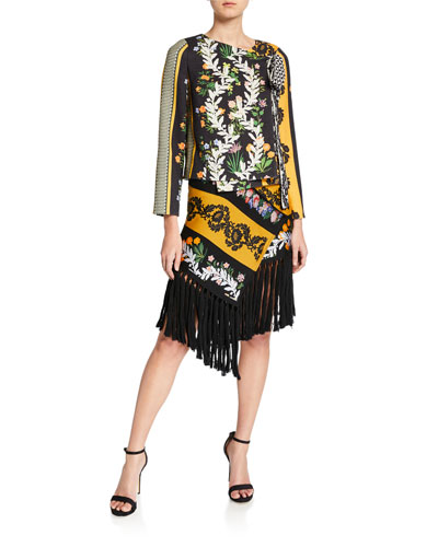 Fringed-Trim Floral Scarf Skirt and Matching Items