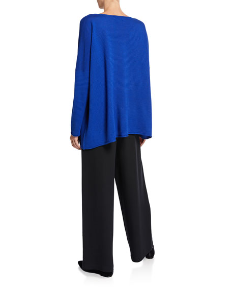 Raw-Edge Bateau-Neck Slim-Sleeve Blouse