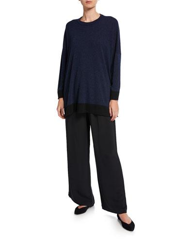 Flared Wide-Leg Silk Trousers