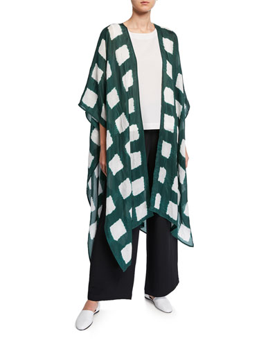 Long Cape-Sleeve Tie-Dye Silk Kimono Jacket and Matching Items