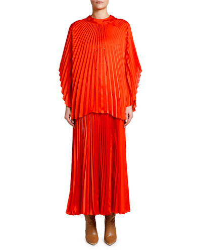 Pleated Cape-Sleeve Top and Matching Items