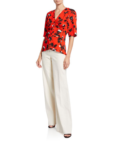 b41d6ce9e Floral-Print Ruched Jersey 1/2-Sleeve Blouse and Matching Items