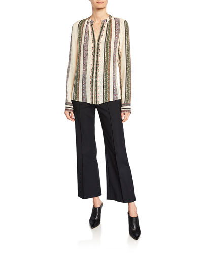 Kara Provencal Striped Button Blouse and Matching Items