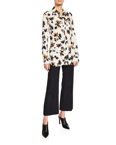 Floating Floral Long-Sleeve Ruffled Blouse and Matching Items