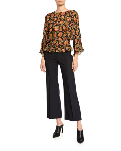 6cd7460393483 Short-Sleeve Indian Floral Print Ruffled Blouse and Matching Items Quick  Look Promotion. Derek Lam