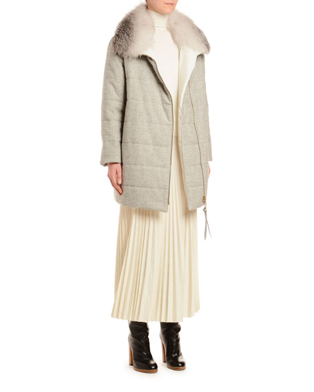 Quilted Parka Coat with Fox-Fur Trim