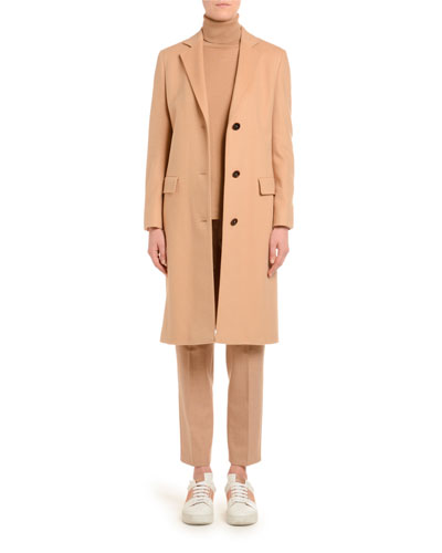 Cashmere Single-Breasted Slim Coat  Camel and Matching Items