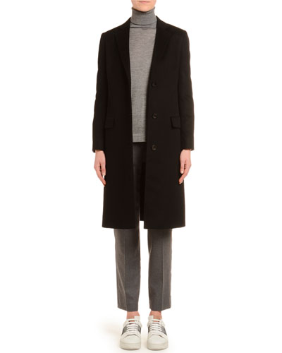 Cashmere Single-Breasted Slim Coat  Black and Matching Items