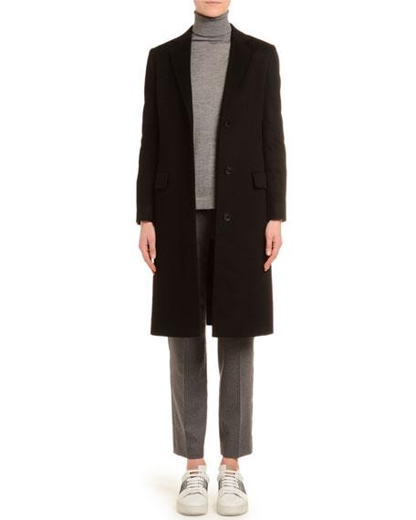 Cashmere Single-Breasted Slim Coat, Black
