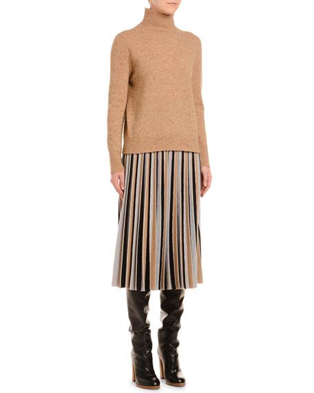 Melange Cashmere-Tweed Turtleneck Sweater, Camel