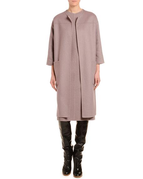 Cashmere 3/4-Sleeve Double-Face Coat