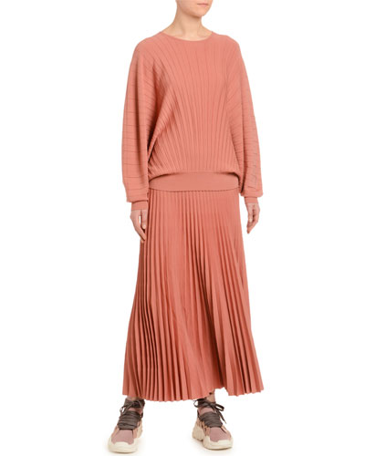 Dolman-Sleeve Pleated Wool Sweater and Matching Items