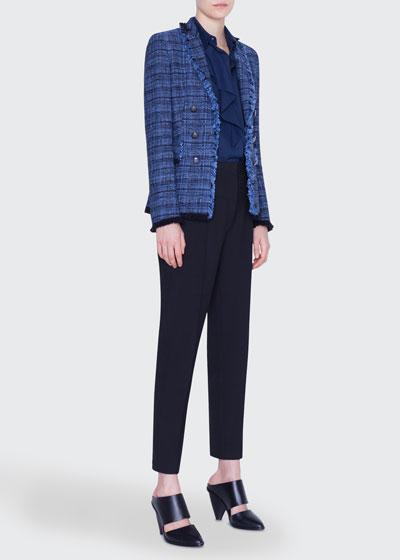 Fringe-Trim Tweed Blazer Jacket and Matching Items