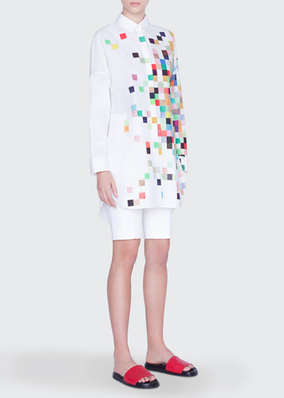 Pixelated Print Button-Front Tunic and Matching Items