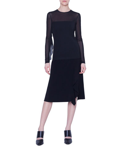 Laser-Cut Asymmetric Crepe Skirt and Matching Items