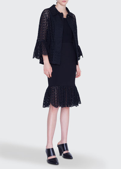 Eyelet-Embroidered Jacket  and Matching Items