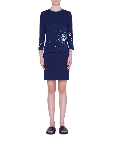 3/4-Sleeve Pixel-Embellished Jersey Shirt and Matching Items